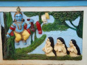 Maalaus Krishnasta ja gopi-tytöistä Keralassa.