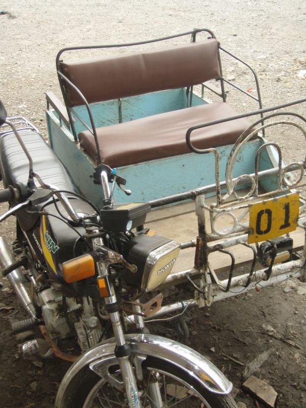 Sivumopo Sumatran Bukit Lawangin bussiasemalla, jonne körötimme tämän kyydissä.