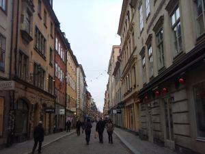 Stora Nygatan Gamla Stanissa. Siltä löytyy myös Hermitage-kasvisravintola.