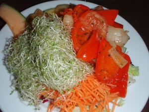 Salaatinsyöjän annos Veganissimon buffetista. Lämpiminä ruokina olisi kyllä ollut kaikenlaista muuta.