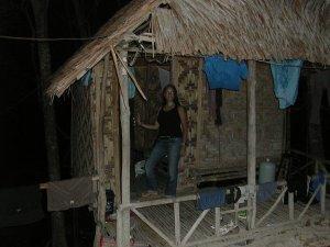 Voisin asua tässä bambumökissä.