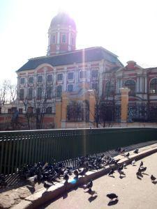 Puluja Aleksanteri Nevskin Lavra -luostarin rakennuksilla.