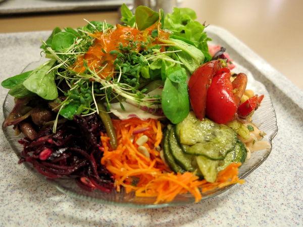 Tällaisista salaattilautasista minä nautin. Porkkanaraastekaan ei ollut vain porkkanaraastetta, vaan maustettua sellaista.