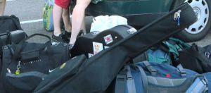 Matkatavarat piti aina asetella takakonttiin, jotta mahtui.
