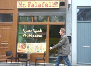Mr Falafel Brysselin keskustassa.