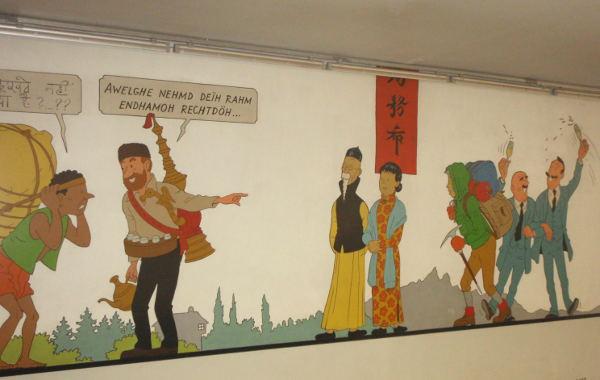Tinttiä olen lukenut lapsena, mutta Mikki Hiiren tapaan se on vakava ja tylsä hahmo. Stockelin metroasemalla oli Tintti-taidetta.