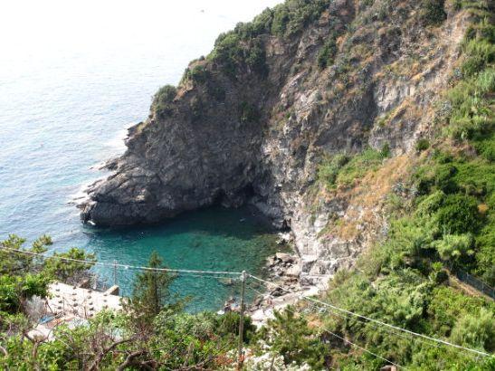 Uimapoukama Cornigliassa oli alhaalla rappusten päässä.