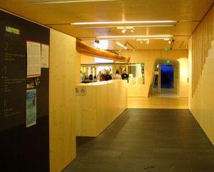 """Haltian aula. Päädyssä sinisenä näkyy lyhyt käytävä, joka vei pääsaliin. Tuossa """"lumitunnelissa"""" oli perinteisempää  museomaista näytteillepanoa täytettyine eläinasetelmineen."""