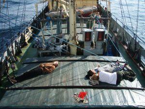 Kun koin merisairautta, piti minunkin makoilla kannella. Kai valtameripurjehtijat tottuu keinuntaan. Kuva: Estelle / Uusi Tuuli ry