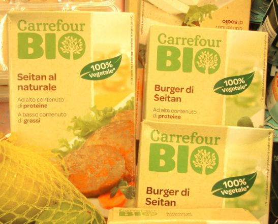 Carrefour-supermarketketjun seitanpihvit.