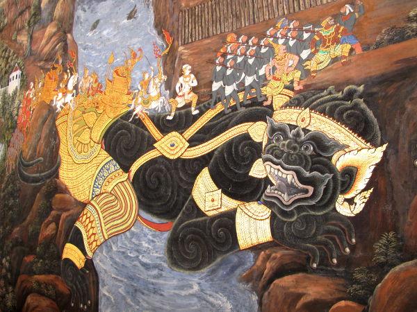 Yksityiskohta Ramakien-eepoksen tapahtumia kuvailevista maalauksista.