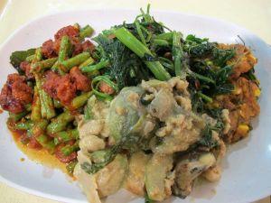 Ravistelin varmaan myyjän maailmaa tilaamalla bangkokilaisen MBK-tavaratalon food courtin kasviskojusta lautaselleni neljää eri ruokaa. Toisaalta farangeilta eli ulkomaalaisilta ehkä odotetaan mitä vain outoa käytöstä.