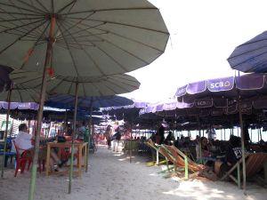Aurinkovarjoja ja rantatuoleja järkyttävän tiheään.