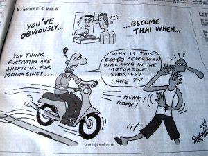 Osuva sarjakuva, joka oli joko The Nation- tai Bangkok Post -lehdessä.