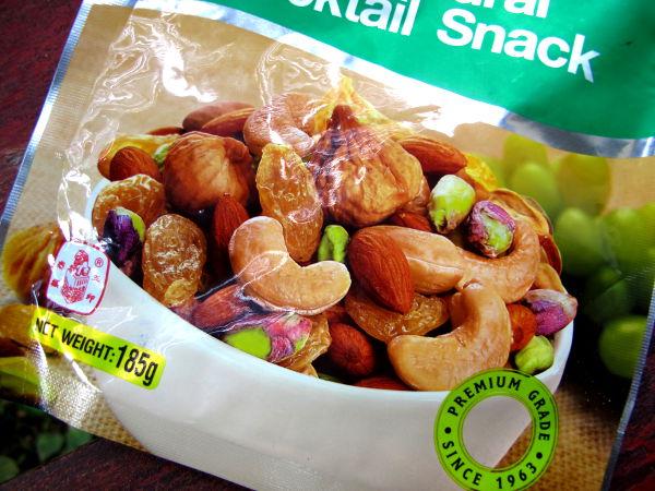 Pähkinöitä tulee ostettua 7-Eleveneistä ja muista kaupoista.
