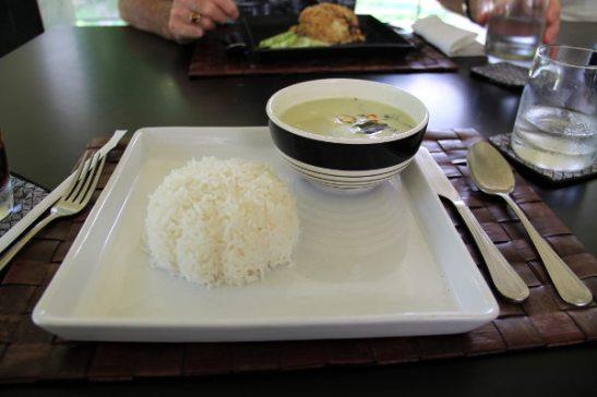 Vihreä curryt tofulla.