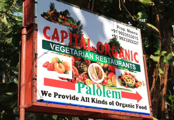 Palolemin kylänraitilla näkee tällaisen kasvisravintolakyltin.