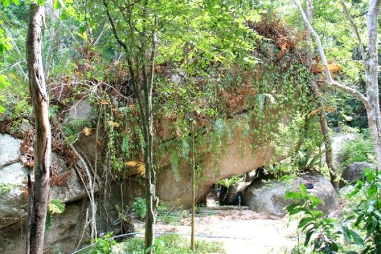 Lyhyen tunnelin muodostava iso kivi metsäpolun varrelta.