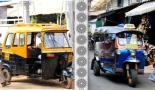 Vasemmalla intialainen riksa ja oikealla thaimaalainen tuk-tuk.