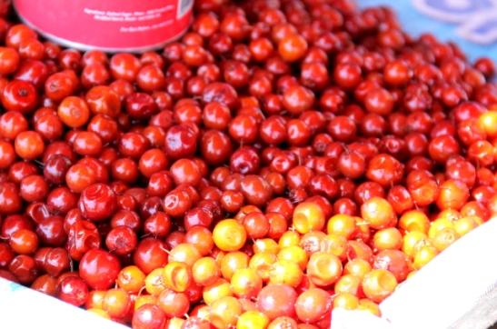 Nämä marjat/minihedelmät mitkä lie olivat puolukoita isompia ja kirpakoilta näyttivät.