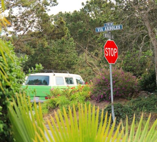 Kadunnimikyltti vihreässä Montereyssa.