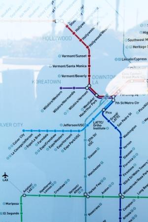 Los Angelesin metrokartta. Sitä ei asemilta saanut paperiversiona mukaansa.