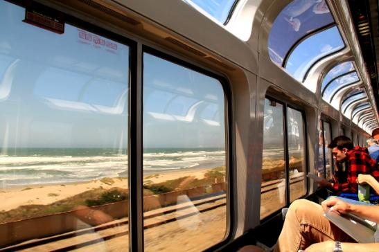 Junassa oli panoraamavaunu.