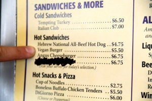 Vegaaniburgeria junan kahvilasta.