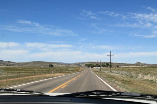 Korkeammalla kun oltiin, niin kasvoi heinääkin. Muistaakseni täällä näin viitan North Fork Ranchille. Myöhemmin matkalla näin myös South Forkin kyltinkin Dallas-sarjan malliin.