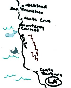 Kalifornian rannikkoa San Franciscosta Los Angelesiin. Big Sur on puolivaiheilla.