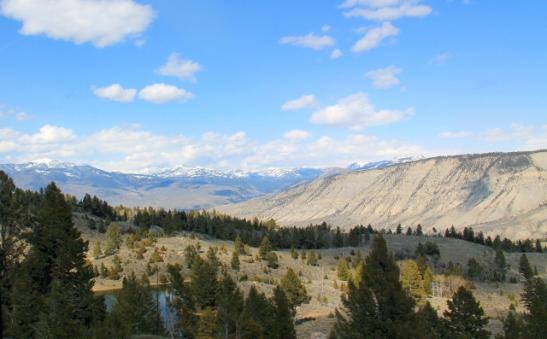 Maisemaa Pohjois-Yellowstonen Mammothiin mennessä.