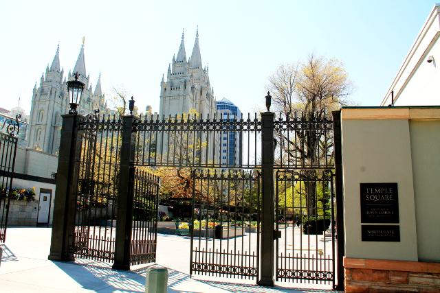 Mormonien temppeliaukio on kaupungin keskus.