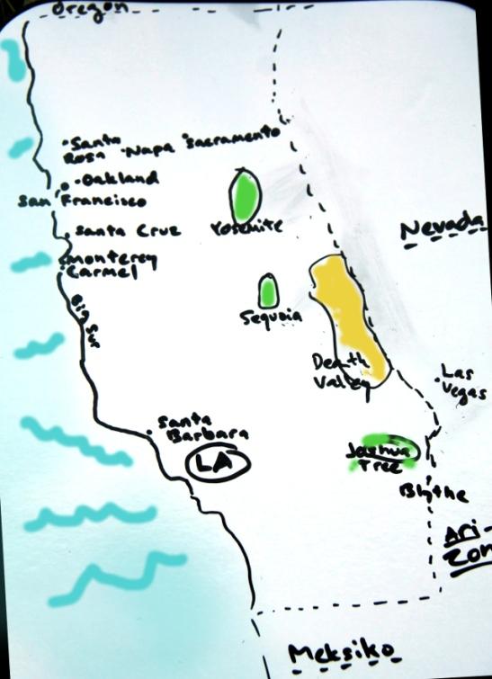 Kartta useimmista Kalifornian kohteistamme.