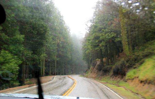 Käännyimme 178-tieltä pahaa-aavistamattomasti 155-tielle. Tiehän kiemursi ja nousi. Olimme sitten ihan erilaisissa maisemissa Sierra Nevadan vuoristossa.