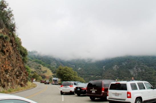 Autoja parkissa ihailemassa sumuista laaksoa.