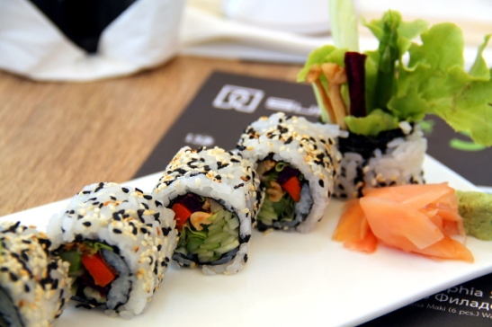 Sushiboxin Buddha´s Delight -sushit. Olivat hienoja, mutta ehkä vähän kuivia.