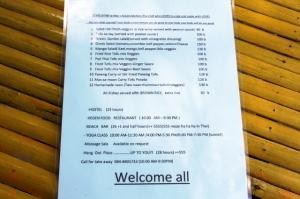 Asylumin menu.