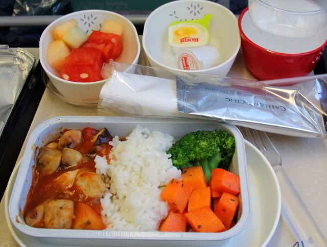 Cathay Pacificin kasvisruoat välillä Hongkong - Bangkok (2014).