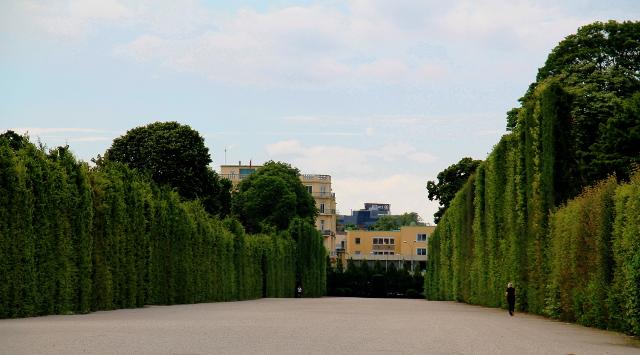 Korkeat pensasaidat Schönburnnilla. Voi vain kuvitella miten näiden välistä on töpsytelty hevosvaunuilla.