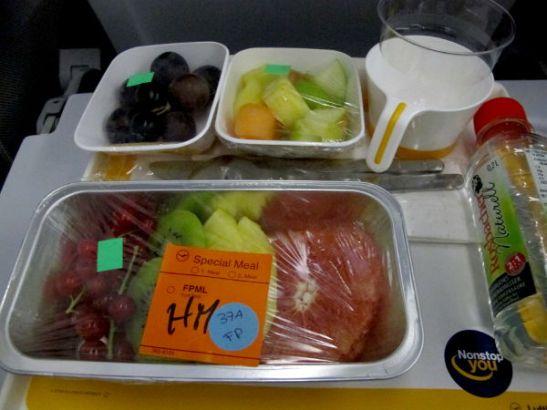 Tilasin kerran Lufthansalta hedelmäruoat lennolleni.