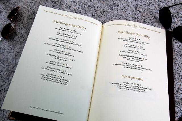 Gasthausin menu.