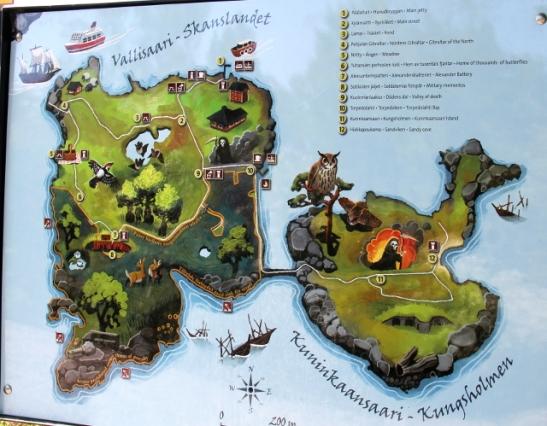 Vallisaari ja ja Kuninkaansaari kartalla.