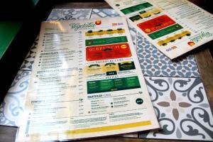 Vegetalian menu.