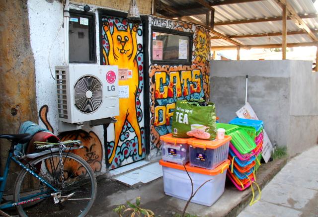Kissaklinikan kamoja Cats of Gilin kaupan edessä Gili Trawanganilla. Tässä ollaan lähdössä Gili Menon saarelle neljän ensimmäisen klinikkapäivän jälkeen.