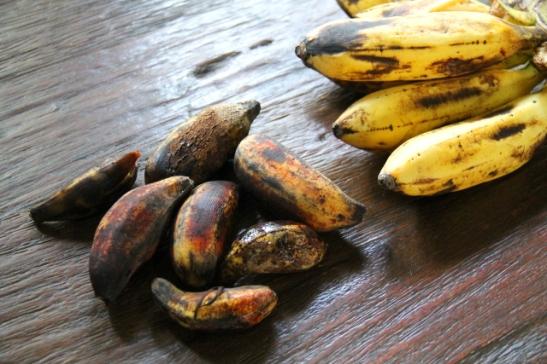 Hyviä banaaneja. Noita tummempia kutsutaan Indonesiassa munabanaaneiksi niiden muodon takia ja kuulemma ne kasvavat vain Lombokin saarella.