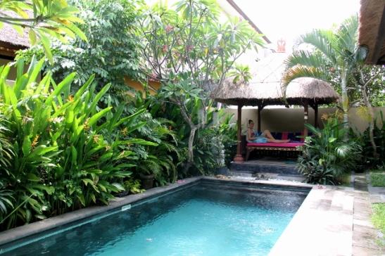 Villan uima-allas. Sellainen olisi kaunis katsella, vaikka en tiedä kävisinkö itse paljoakaan uimassa.