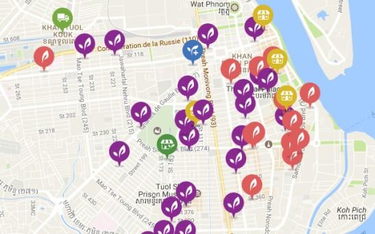 Kuva Happy Cown sivuille merkityistä Phnom Penhin yli kahdestakymmenestä kasvisravintolasta, jotka on merkitty violetilla. Punaiset ovat muita ravintoloita, joilla on hyvä kasvisvalikoima.