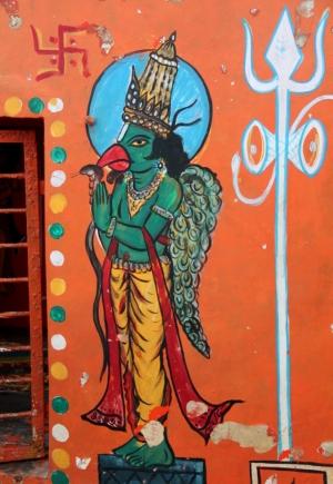 Tässä maalauksessa oikealla näkyy tuo kolmihaarainen Shivaan liittyvä.