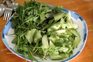 Thairavintoloissa voi usein lisätä ruokaansa vihanneksia tämmöisestä valikoimasta. Jotkut yrtit ovat aika kumman makuisia.